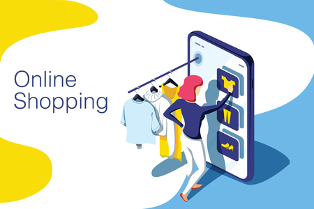 Sale, consumerism and people concept. Young woman shop online using smartphone. Landing page template. 3d vector isometric illustration. Shopping app, ecommerce website interface, internet business.