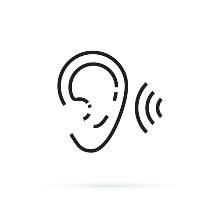 ear icon, hearing linear sign isolated on white background editable vector illustration eps10. Hear healthcare, noise