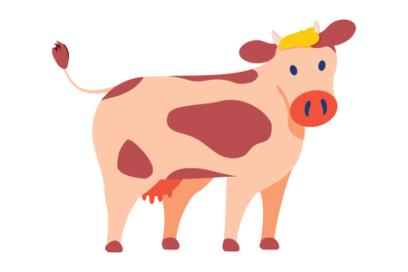 Cow emblem in simple style vector icon isolated on white. Big domestic animal, horned dairy cattle with spots on skin on back, with udder with milk. Agriculture animal symbol. Cow icon, cute pet 일러스트