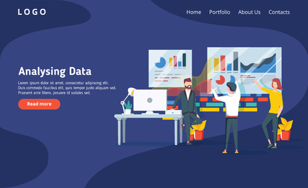 People build a dashboard and interact with graphs on the dark blue backgroung. Data analysis, and office situations. Landing page template. Modern new vector illustration. Web design ui ux interface