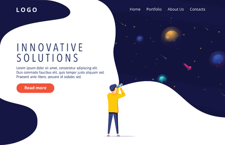 Man exploring space. Vector illustration flat design. Use in Web Project and Applications. Landing page concept for innovative solution search. Innovation, research, business vector illustration. 向量圖像