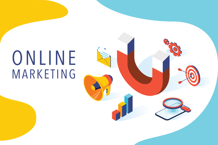 Inbound marketing vector business illustration in isometric design. Online or permission marketing background. Business advertising company, public relation and promotion. Seo, social media marketing 向量圖像