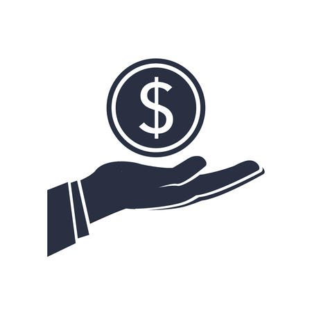 dollar money on hand icon vector. Salary banking icon, ecommerce, earnings concept. Solid sign for donation,payment or profit. Success business concept. Money in hand sign isolated on background