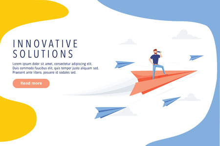 Business innovative solutions website design. Business research, modern vector web banner. Idea, goal or business success quality vector illustration. Business methaphor background. Research plan
