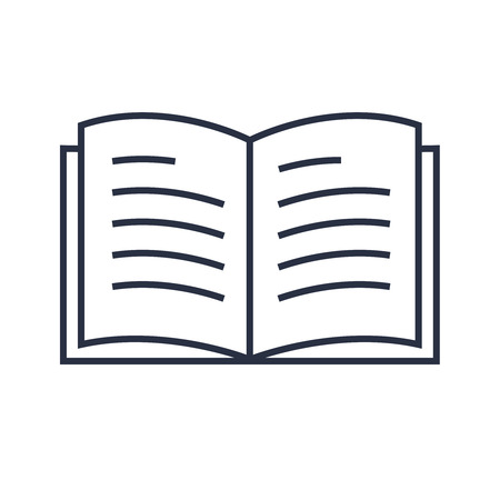 Book line icon vector. Minimalistic modern linear icon for education. Diary, book icon, concept for reading. Online reader sign. Simple study logo, library, magazine. Textbook isolated on white 向量圖像
