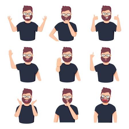 Set of different emotions male character. Handsome man emoji with various facial expressions. Vector illustration in cartoon style. Business icons with businessman feelings. Happy, frustration sadness