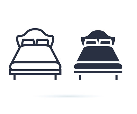 single bed. linear icon. Line and solid icons set for hotel, room. Double bed for couple, rest, hostel. Bed for two persons with a pillow and a blanket in a flat style. Isolated Vector illustration 向量圖像