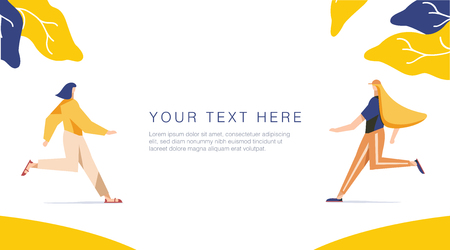 Runnning girl in the walk. Use in Web Project and Applications. Happy women or girls running together. Female, union of feminists, sisterhood. Shop sale banner for Website or Web Page vector