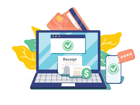 Notification on financial transaction. Laptop with electronic receipt. Online payment confirmation via SMS. Vector illustration in flat style. Financial transactions, cashless operation on payment 向量圖像