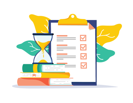 Exam preparation school test. Examination concept checklist and hourglass, choosing answer questionnaire form, education vector flat illustration. Online course learning exam. Fill out form summary Illustration