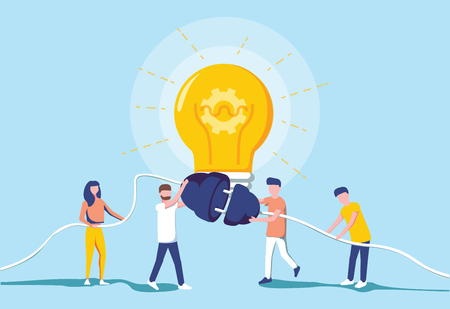 Business people and generating electric power for a large bulb. Idea generation. Brainstorm and teamwork cooperation concept. Modern vector illustration. Switch electricity on. Success business.