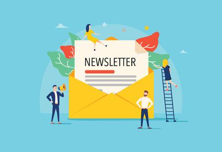 E-mail subskrybuj koncepcję ilustracji wektorowych, system e-mail marketingu, ludzie używają smartfona i subskrybują i biuletyn