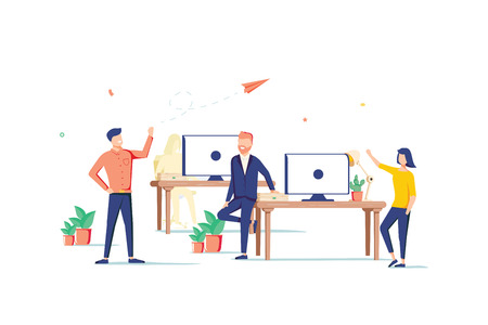 Coworking space flat design style colorful illustration on white background. High quality composition with male, female freelancers, business people working with laptops, computers in one open place