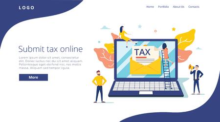 Die Leute reichen Steuern nach dem Online-Vektorillustrationskonzept, der Online-Steuerzahlung und dem Bericht ein, können für die Landingpage verwendet werden