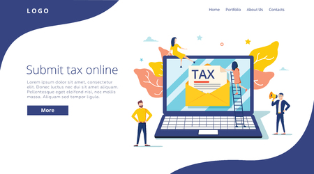 Las personas envían impuestos por concepto de ilustración vectorial en línea, pago e informe de impuestos en línea, pueden usar para la página de destino