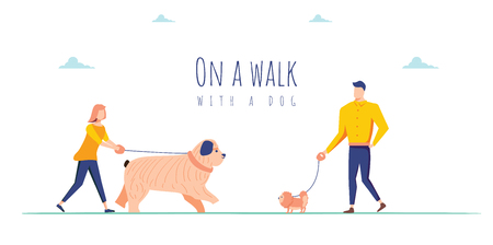 Vector illustration with people on a walk with a dogs. Use in Web Project and Applications. Cute characters with dogs