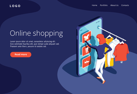 Sale, consumerism and people concept. Young woman shop online using smartphone. Landing page template. 3d vector isometric illustration. Ecommerce website concept, online shopping, sale banner