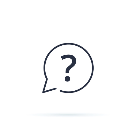 Question Mark icon vector. FAQ button for website, linear icon ui interface. Advice, ask, answer or assistance concept symbol. Support center service, help, frequently asked questions icon.