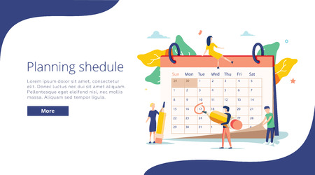 Planning vector illustration. Flat mini persons concept with schedule calendar. System to organize daily routine. 向量圖像