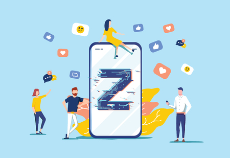 Generation Z vector illustration. Flat virtual tiny persons messaging concept. New and modern demography trend