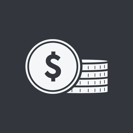 vector icon coin. Money sign, bank cash, solid coins icons. Currency, investment or salary money stack. Coins isolated on background. Payment system. Flat design style. Business concept.