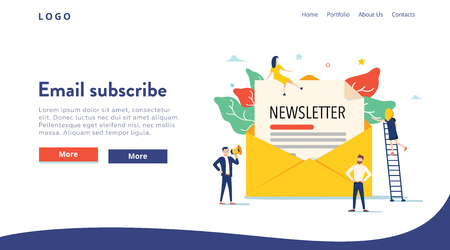 Email subscribe vector illustration concept, email marketing system, people use smartphone and subscribe, newsletter.