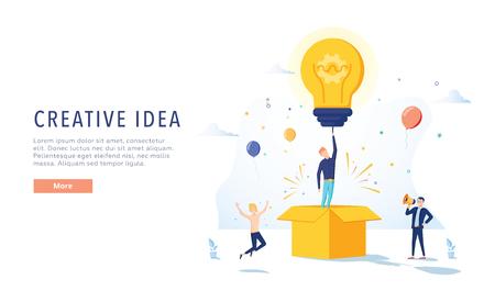 Werbetexter Creative Idea Landing Page. Business-Kreativitätskonzept für Website oder Webseite. Blog-Werbung. Flache Karikatur-Vektor-Illustration. Brainstorming, Geschäftsidee, kreative Werbewebsite