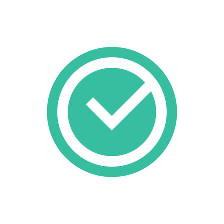 Check mark vector icon, approved ok symbol. Green tick checkbox vector illustration isolated on white background. Ok icon, approved, right answer,tick sign for website,banner,infographic. Confirmation 向量圖像