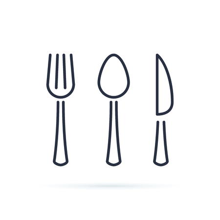 Spoon, fork and knife icon vector. Cutlery icon symbol. Cutlery line icons isolated on white background. Cafe or restaurant symbols, stroke dishware. Dinner tableware. Set of dessert cutlery. 向量圖像