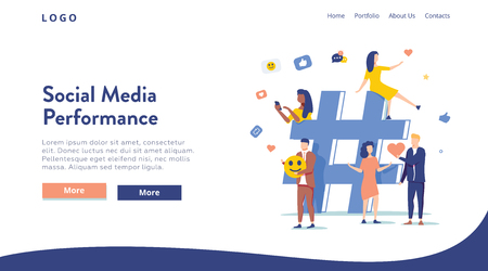 Relationship, online dating and networking concept - people sharing information via social media platforms and interacting with icons. Landing concept. Flat vector illustration. Digital agency website 向量圖像