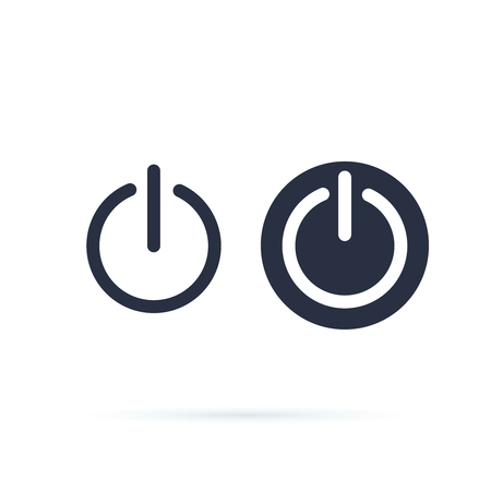 Power icon. Power Switch Icon. Shut Down, switch on or off symbol. Line and solid icons. web round button on and off mark. Isolated bell button. Digital electrical symbol, shutdown