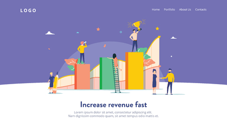 People work in a team and interact with graphs. Business, leadership, workflow management, office situations. Landing page template. Flat vector illustration. Business strategy success, revenue fast