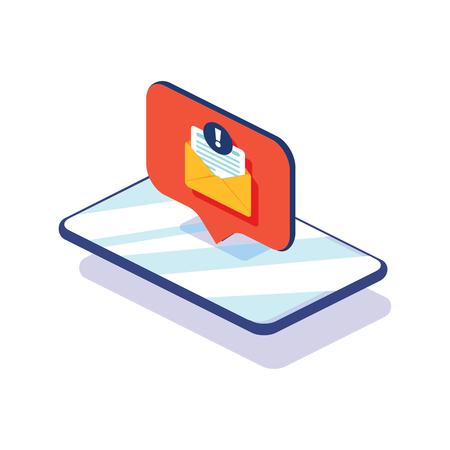 New message on the smartphone screen. Vector illustration. New Chat messages notification on phone flat design messages bubbles screen, person chatting mobile. Online alert notification 向量圖像