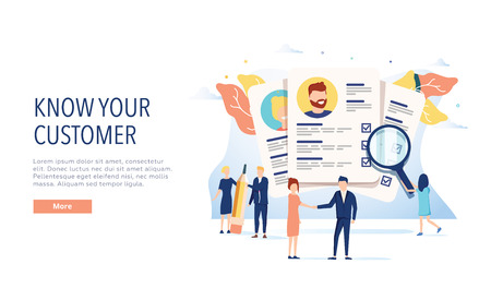 KYC, know your customer vector website template, web page and landing page design for website and mobile site.