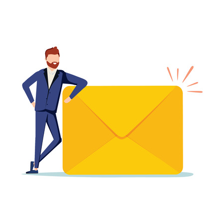 Happy man got an important letter. Handsome businessman or manager is standing nearby mailbox and holding an envelope. Modern vector illustration. Email subscribe vector illustration, email marketing