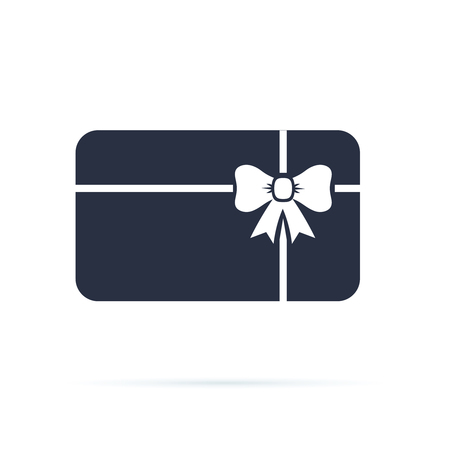 Gift card icon. Present card with ribbon and bow. Solid icon. Special offer sign, promo card. Present sertificate from shop. Discount coupon icon. Vector illustration isolated on white. Voucher symbol 向量圖像