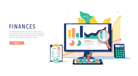 Finance and innovative mobile technology concept. Isometric vector of financial apps and services on laptop and modern gadgets on white background. Banking online system, website template. E-banking