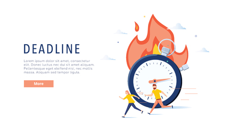 Deadline concept illustration, perfect for web design, banner, mobile app, landing page, vector flat design. Business abstract time is money poster. Concept for fast development or stress at work.