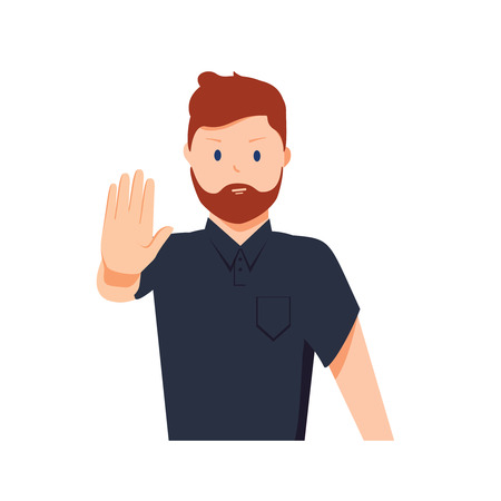 Serious man shows stop gesture. Vector illustration in cartoon style. Cartoon charcter deny or stop expression. Rejection warning hand, professional advice, forbidden by man. Human palm hand 向量圖像