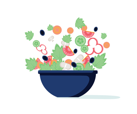 Salad bowl. Green salad with peppers, tomato, cucumber, mushrooms, olives. Vector. Green salad of fresh vegetables in a transparent salad bowl object isolated on a white background