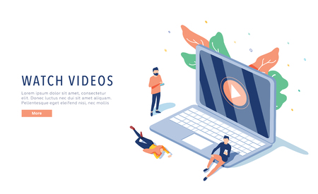 people streaming online video with their laptop, smartphone vector illustration concept, online tutorial video streaming 向量圖像