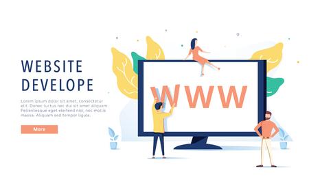 Landing page template of Website on Desktop Illustration Concept. Modern flat design concept of web page design, website 向量圖像