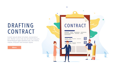 Drafting the contract. People draw up a document. Web page design template. Flat vector illustration. Business document 向量圖像
