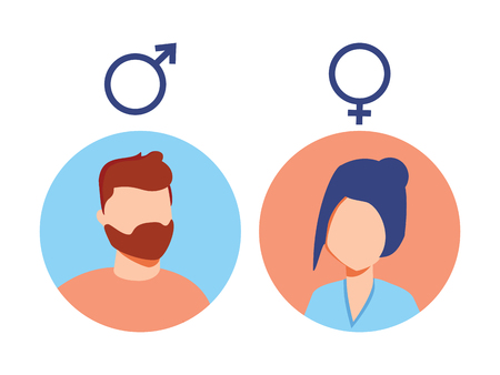 Vector male and female icon set. User avatar. Man and lady toilet sign. Sex symbol. Gender icon. Boy and girl pictogram. 向量圖像