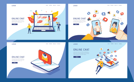 virtual relationship vector illustration concept,group of people chat on social media , people typing on smartphone can use for, landing page, template, ui, web, mobile app, poster, banner, flyer 向量圖像