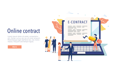 smart digital contract vector illustration concept, businessman signing online contract agreement with laptop 向量圖像