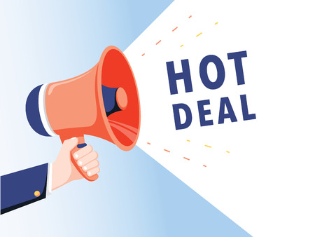 Male hand holding megaphone with hot deal speech bubble. Loudspeaker. Banner for business, marketing and advertising. Vector illustration. Big sale background for shop, promo poster. Marketing 向量圖像