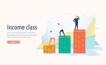 Income class vector illustration. Flat three levels tiny persons wealth concept. Economical system symbolic chart.