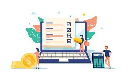 slim digitaal contract vectorillustratieconcept, zakenman die online contractovereenkomst met laptop ondertekent, kan gebruiken voor, bestemmingspagina, sjabloon, ui-web, mobiele app, poster, banner of flyer