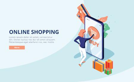 Concetto di shopping online con carattere. Vendita e consumismo. Negozio di giovane donna online utilizzando smartphone. Banner web